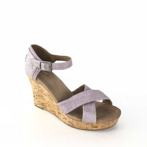 TOMS Size 7 Lilac Metallic Sierra Wedge Sandals